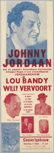 Affiche Johnny Jordaan, 2 september 1956